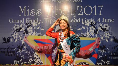 Miss Tibet 2017 Tenzin Paldon poses for a photo after winning the crown on June 4, 2017.
