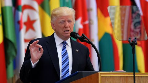 US President Donald Trump speaks during the Arab Islamic American Summit at the King Abdulaziz Conference Center in Riyadh on May 21, 2017. Trump tells Muslim leaders he brings message of 'friendship, hope and love' / AFP PHOTO / MANDEL NGAN        (Photo credit should read MANDEL NGAN/AFP/Getty Images)