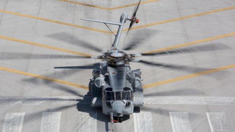 The CH-53K King Stallion returns to the Sikorsky Development Flight Test Center after completing its first gun-fire testing on March 22, 2017. U.S. Marine Corps photo