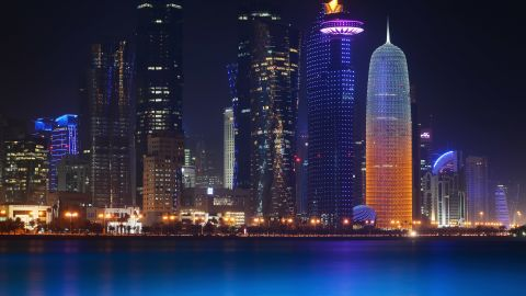 DOHA, QATAR - JANUARY 07:  The illuminate skyline of Doha is seen on January 7, 2014 in Doha, Qatar.  (Photo by Lars Baron/Getty Images)
