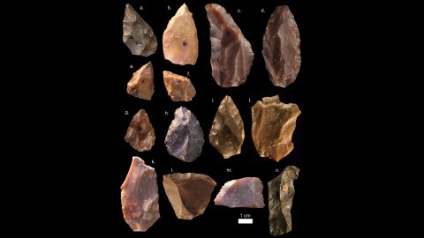 Stone tools recovered from the site reveal flint flakes shaped by early Homo sapiens with points and cores for more efficient hunting.