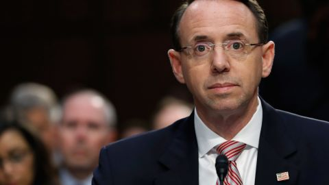 Deputy Attorney General Rod Rosenstein appears before a Senate Intelligence Committee hearing about the Foreign Intelligence Surveillance Act, on Capitol Hill, Wednesday, June 7, 2017, in Washington. (AP Photo/Alex Brandon)