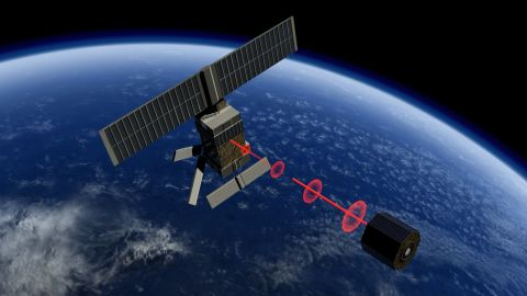Capturing space debris requires close targeting which could be achieved by LIDAR, a technique that uses pulsating light to measure distances.