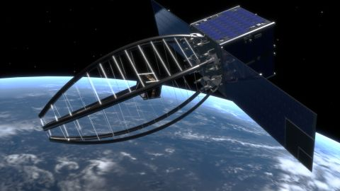 Cleanspace One is a satellite in development by the Swiss Federal Institute of Technology of Lausanne.  Originally the design featured a claw, but scientists found a net-system would be a more effective system to capture and deorbit space debris.