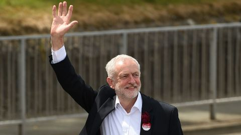 Britain's main opposition Labour Party leader Jeremy Corbyn waves as he arrives to address supporters at a campaign visit in Colwyn Bay, north Wales on June 7, 2017, on the eve of the general election. Britain on Wednesday headed into the final day of campaigning for a general election darkened and dominated by jihadist attacks in two cities, leaving forecasters struggling to predict an outcome on polling day. / AFP PHOTO / Oli SCARFF        (Photo credit should read OLI SCARFF/AFP/Getty Images)