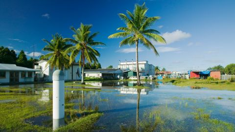 Funafuti Atoll in Tuvalu is 15 feet above sea level at its highest point, rising sea levels are putting it at risk.
