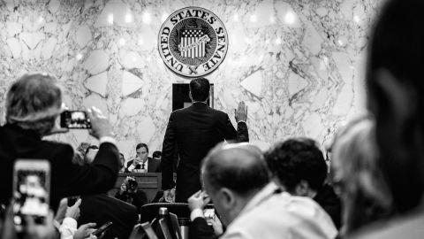 Former FBI director James Comey is sworn in prior to testifying during the Senate Intelligence Committee in Washington, DC on June 8, 2017.