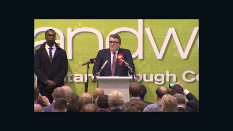 Labour Party Deputy Leader Tom Watson delivers a victory speech praising his party's message.