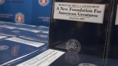 Copies of US President Donald Trump's Fiscal Year 2018 budget are released for distribution on Capitol Hill in Washington, DC, May 23, 2017.