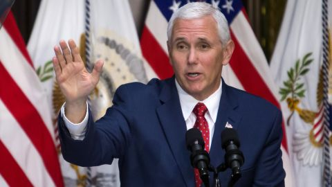 Vice President Mike Pence speaks during an Infrastructure Summit Working Luncheon June 8, 2017 in Washington, DC.