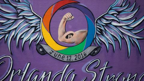 """""""Orlando Strong"""" mural seen on Mills Avenue on Thursday, June 8, 2017 in Orlando, Florida. Many in the LGBT community say the mural's supportive messages make you stand a little taller, prouder -- a feeling of belonging in a city you call home in spite of the horrible act of hate at Pulse."""