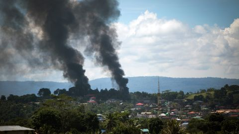 A smoke following an airstrikes by Philippine Air Force in Marawi city, southern Philippines on June 11, 2017. Philippine military jets fired rockets at militant positions on Sunday as soldiers fought to wrest control of the southern city from gunmen linked to the Islamic State group.