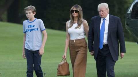 President Donald Trump, first lady Melania Trump and their son Barron Trump arrive at the White House on Sunday, June 11, 2017 in Washington, D.C.