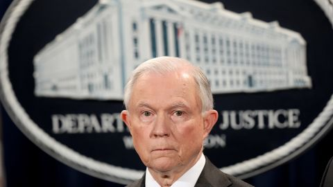 """US Attorney General Jeff Sessions speaks during an event at the Justice Department May 12 in Washington, DC. Sessions was presented with an award """"honoring his support of law enforcement"""" by the Sergeants Benevolent Association of New York City during the event."""