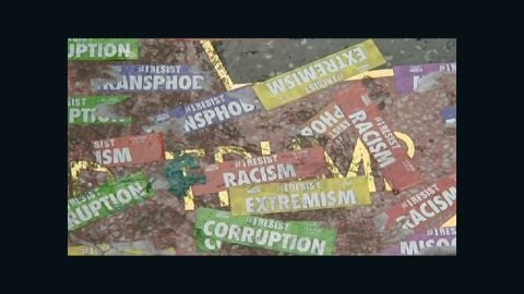 President Donald Trump's star on the Walk of Fame was covered in stickers.