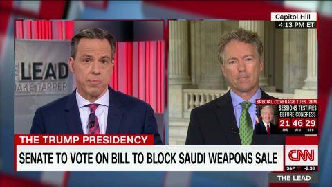senator rand paul jake tapper interview part two saudi arabia us trump weapons deal politics_00002714.jpg