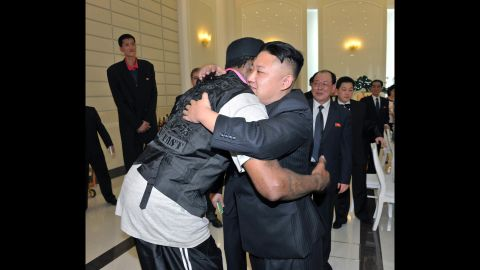 Rodman hugs Kim in this photo released by the Korean Central News Agency after a basketball game in Pyongyang in February 2013.