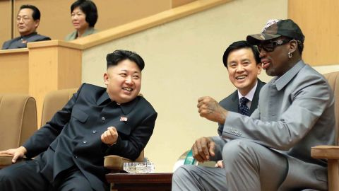 """In a handout photo from the North Korean government, North Korean leader Kim Jong Un talks with Rodman during an exhibition basketball game in Pyongyang on January 8, 2014. Rodman, a former contestant on Donald Trump's pre-presidency reality TV show """"Celebrity Apprentice,"""" is one of the few Americans to have met Kim."""