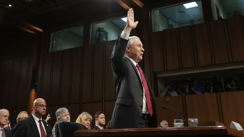 WASHINGTON, DC - JUNE 13:  U.S. Attorney General Jeff Sessions is sworn-in before testifying before the Senate Intelligence Committee about Russian interference in the 2016 presidential election in the Hart Senate Office Building on Capitol Hill June 13, 2017 in Washington, DC. Sessions recused himself from the Russia investigation because of his work for the Trump campaign and was later discovered to have had contact with the Russian ambassador last year despite testifying to the contrary during his confirmation hearing.  (Photo by Chip Somodevilla/Getty Images)