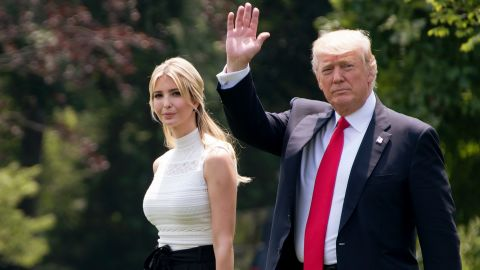 US President Donald Trump walks with his daughter Ivanka as they depart the White House in Washington, DC, June 13, 2017 en route to Wisconsin. (JIM WATSON/AFP/Getty Images)