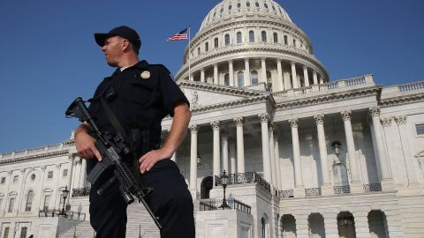 A U.S. Capitol Police officer stands guard in front of the U.S. Capitol Building, on June 14, in Washington, DC. Security is heightened on Capitol Hill because on this morning House Majority Whip Steve Scalise and others were shot by a gunman during Congressional baseball practice in Alexandria, Virginia.