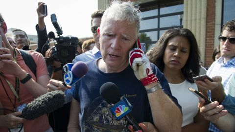 Alabama Representative Mo Brooks meets with reporters in Alexandria, Virginia on Wednesday, June 14, after House Majority Whip Steve Scalise of Louisiana was shot by a rifle-wielding gunman at a congressional baseball practice just outside of Washington.
