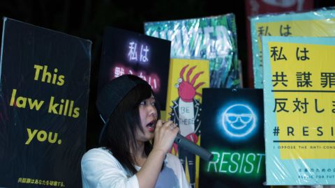 People protest outside the National Diet on June 15, 2017 in Tokyo, Japan.