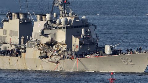 The US Navy guided missile destroyer USS Fitzgerald arrives at the US Naval base, Yokosuka, in the Japanese prefecture of Kanagawa on June 17.
