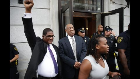 """Andrew Wyatt, a Cosby spokesman, raises his fist as Cosby exits a courthouse in Norristown, Pennsylvania, in June 2017. Cosby was facing three counts of aggravated indecent assault from a 2004 case involving Andrea Constand, an employee at his alma mater, Temple University. But it <a href=""""http://www.cnn.com/2017/06/17/us/bill-cosby-verdict-watch/index.html"""" target=""""_blank"""">ended in a mistrial</a> after a jury was unable to come to a unanimous decision. Constand was the first of more than 50 women <a href=""""http://www.cnn.com/2014/12/13/showbiz/gallery/cosby-accusers/index.html"""" target=""""_blank"""">who have accused Cosby</a> of sexual misconduct. Cosby has denied wrongdoing."""