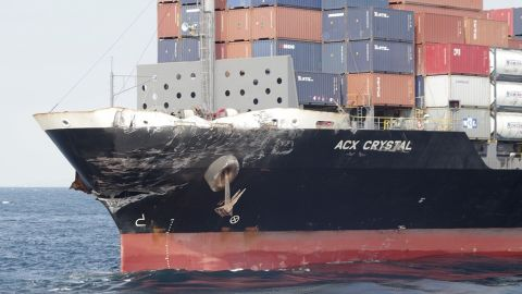 The container ship ACX Crystal is seen in the waters off Japan after it had collided with the USS Fitzgerald on  Saturday.