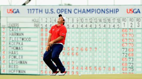 """Patrick Reed, dubbed """"Captain America"""" for his inspirational Ryder Cup performances, missed a putt on the last for a 64 but finished tied seventh at eight under for the tournament."""