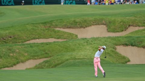 """Thomas, 24, unleashed his three-wood second shot 310 yards to reach the green on the 667-yard par-five 18th to set up an eight-feet record-breaking eagle putt. """"Oh gosh, Jimmy, be good,"""" he said to his caddie as the ball was in the air."""