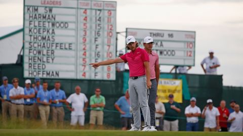 The 30-year-old Harman leads from England's Tommy Fleetwood (left), Brooks Koepka (right) and Thomas.