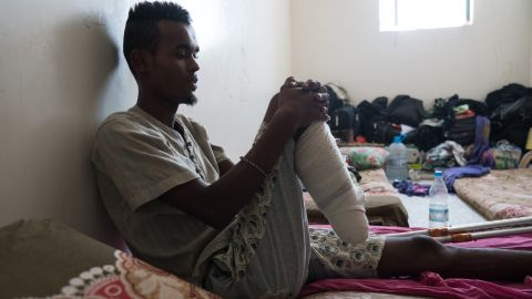 """Mohammad, 17, from Mogadishu survived an <a href=""""https://www.cnn.com/2017/03/18/middleeast/yemen-refugee-boat-attack/index.html"""" target=""""_blank"""">attack on a migrant boat off the coast of Yemen </a>that killed at least 42 people. He says he saw a helicopter take off from a large military boat and thought they were being saved -- until it opened fire on them. Two of his friends were killed, and he had to have his right foot amputated."""