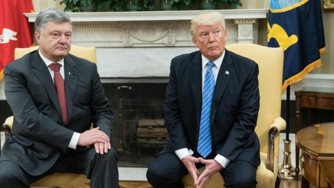 US President Donald Trump meets with his Ukrainian counterpart Petro Poroshenko in the Oval Office at the White House in Washington, DC, on June 20, 2017.