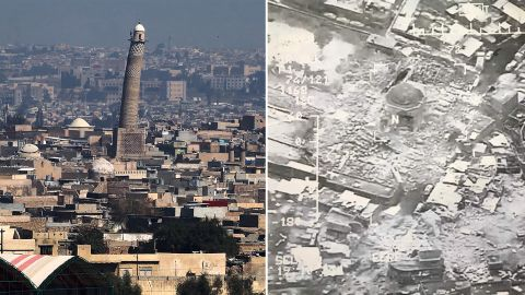 """Before-and-after photographs of the destruction. The US and ISIS trade blame for <a href=""""http://edition.cnn.com/2017/06/21/world/mosul-iraq-mosque-destroyed/index.html"""" target=""""_blank"""">its loss</a>."""