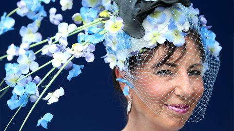 Up to 300,000 people are expected to descend on Ascot over the course of five days. One racegoer, Rita Lockley, from Shrewsbury, caught the eye with this stunning blue floral hat.