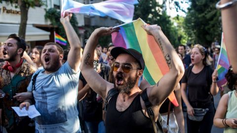 LGBT supporters march towards Istanbul's Taksim Square.
