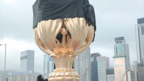 Protesters targeted Hong Kong's Golden Bauhinia Square, a symbol of the city's handover to Chinese rule, on Monday, June 26, 2017.