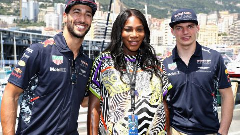 The tennis star has also been traveling the world. The mum-to-be was in Monaco last month for the F1 Grand Prix and was pictured with Red Bull duo Daniel Ricciardo (left) and Max Verstappen