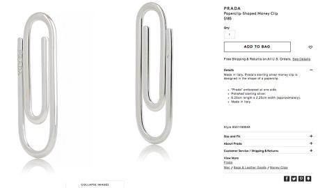 """Barney's is selling Prada's """"paperclip-shaped"""" money clip, the sterling silver spitting image of something that you probably already have on your desk."""