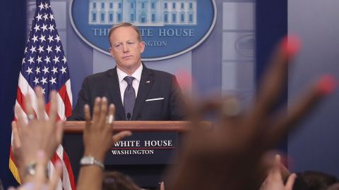 WASHINGTON, DC - MAY 30:  White House Press Secretary Sean Spicer speaks to the media in the briefing room at the White House, on May 30, 2017 in Washington, DC.  (Photo by Mark Wilson/Getty Images)