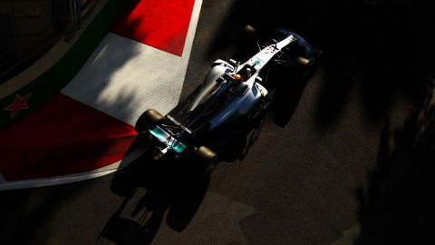 Hamilton races in the Azerbaijan Formula One Grand Prix in June.