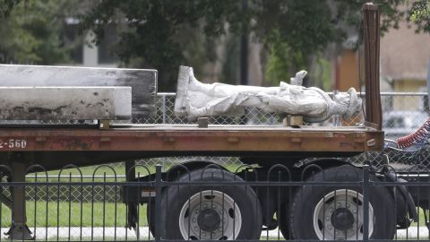 """Part of Orlando's """"Johnny Reb"""" statue is removed from Eola Park in June."""