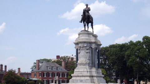 The equestrian statue of Gen. Robert E. Lee looms over Monument Avenue in Richmond, Virginia.