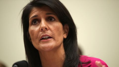 US Ambassador to the United Nations Nikki Haley testifies during a hearing before the House Foreign Affairs Committee June 28, 2017 on Capitol Hill in Washington, DC.