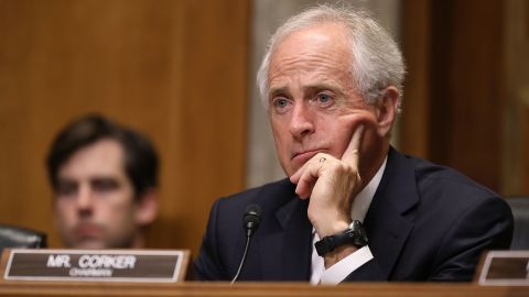 Senate Foreign Relations Committee Chairman Bob Corker (R-TN) listens to witnesses during a committee hearing about Libya in the Dirksen Senate Office Building on Capitol Hill April 25, 2017 in Washington, DC.