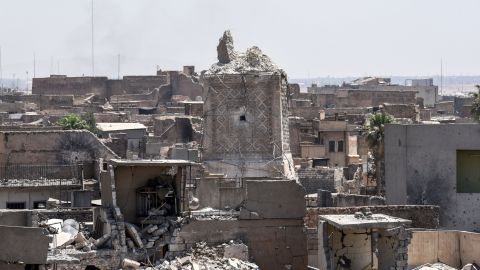 """The remnants of Mosul's ancient leaning minaret are seen in the Old City on Sunday, June 25. ISIS' claim that US warplanes were responsible for the <a href=""""http://www.cnn.com/2017/06/21/world/mosul-iraq-mosque-destroyed/index.html"""">destruction of the minaret </a>is """"1,000% false,"""" US officials told CNN."""