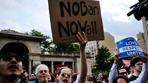 Recent Immigrants join activists for an evening protest in Manhattan hours before a revised version of President Donald Trump's travel ban that was approved by the Supreme Court is to take effect on June 29, 2017 in New York City.