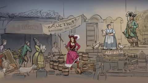 This artist's drawing, released by Disney, shows what the new auction scene might look like at its Pirates of the Caribbean ride.
